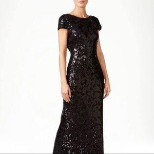 Calvin Klein Black Sequin Evening Gown